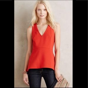 Anthropologie Hara peplum red orange top size 2